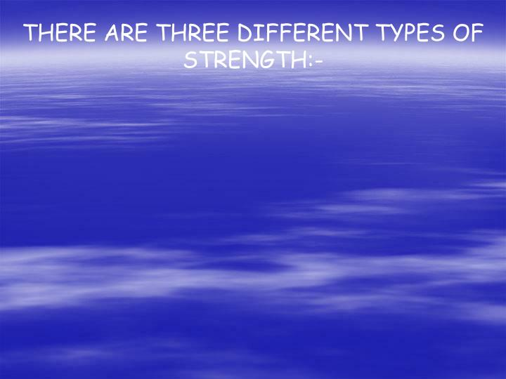 THERE ARE THREE DIFFERENT TYPES OF STRENGTH:-