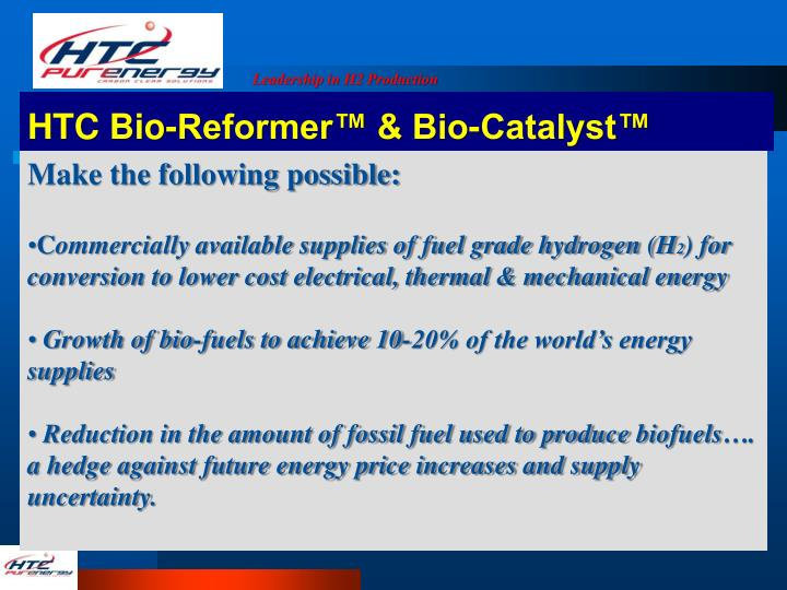 HTC Bio-Reformer™ & Bio-Catalyst™