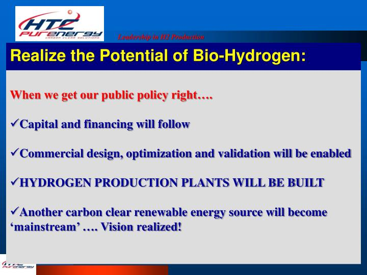 Realize the Potential of Bio-Hydrogen: