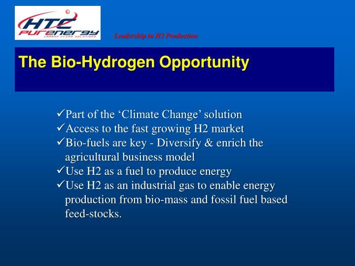 The Bio-Hydrogen Opportunity