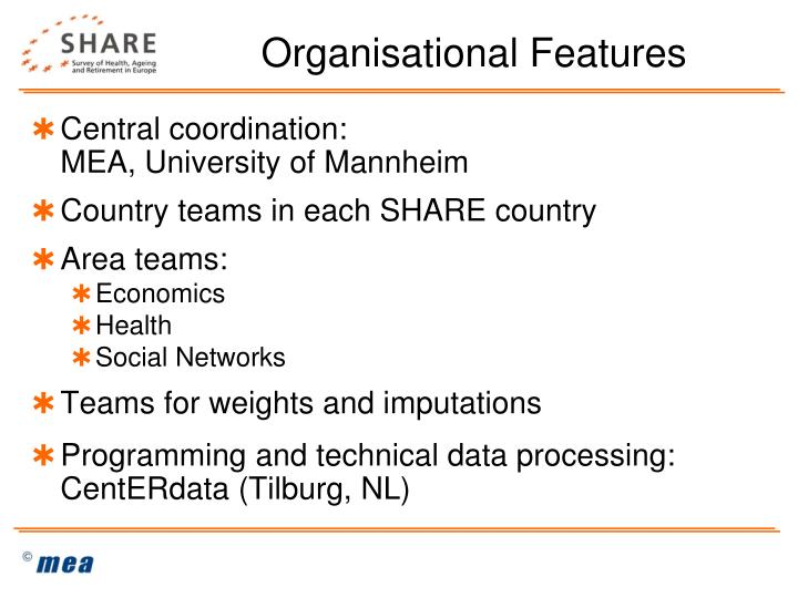 Organisational Features