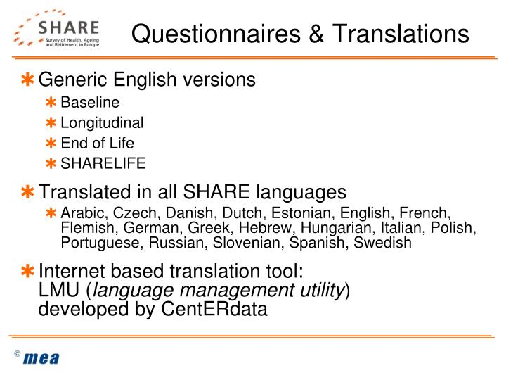 Questionnaires & Translations