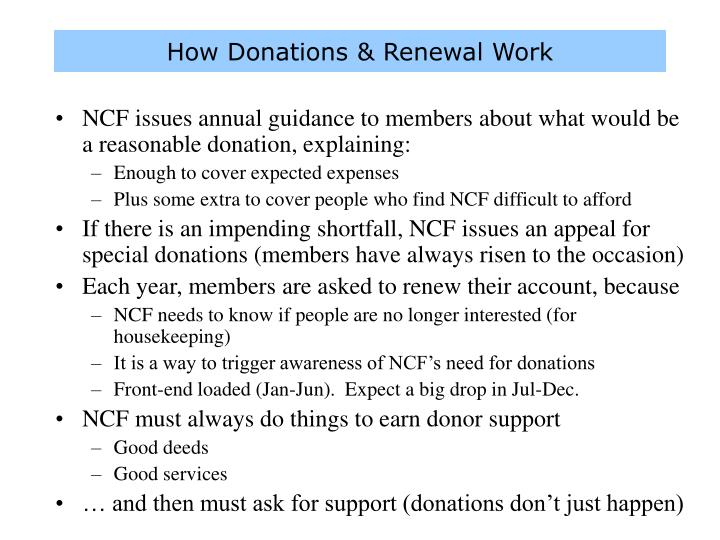 How Donations & Renewal Work