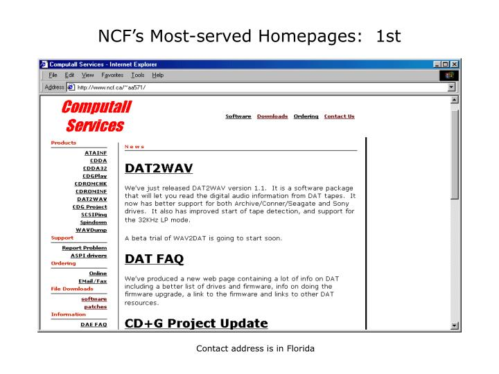 NCF's Most-served Homepages:  1st