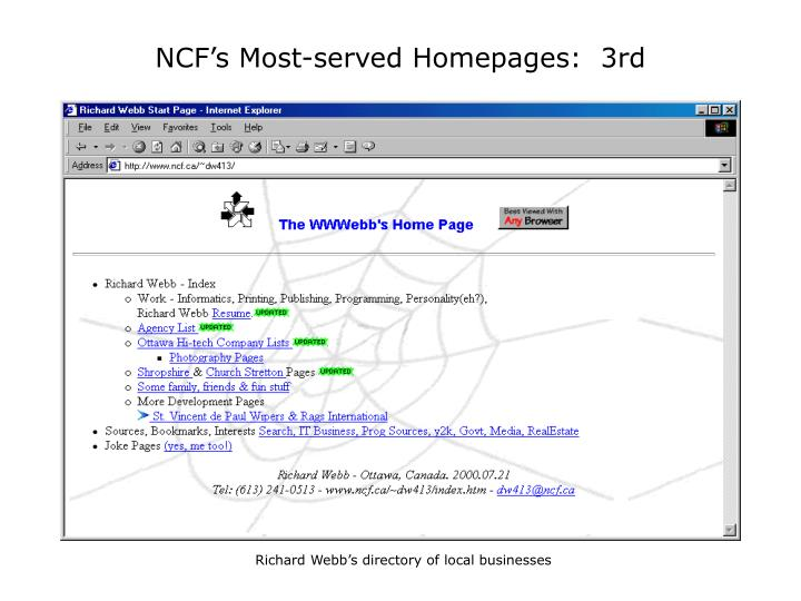 NCF's Most-served Homepages:  3rd