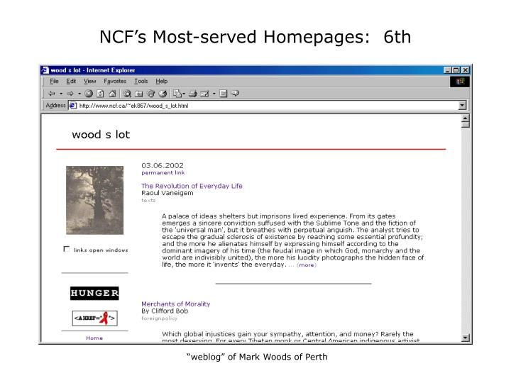 NCF's Most-served Homepages:  6th