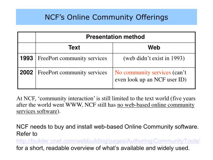 NCF's Online Community Offerings