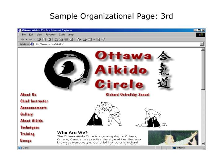 Sample Organizational Page: 3rd