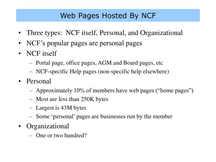 Web Pages Hosted By NCF
