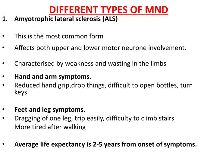 Ppt Motor Neurone Disease Different Types Life