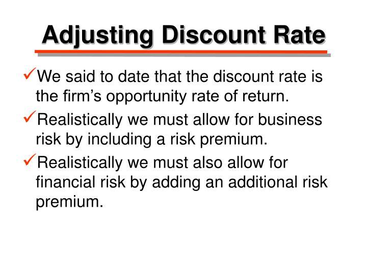 Adjusting Discount Rate