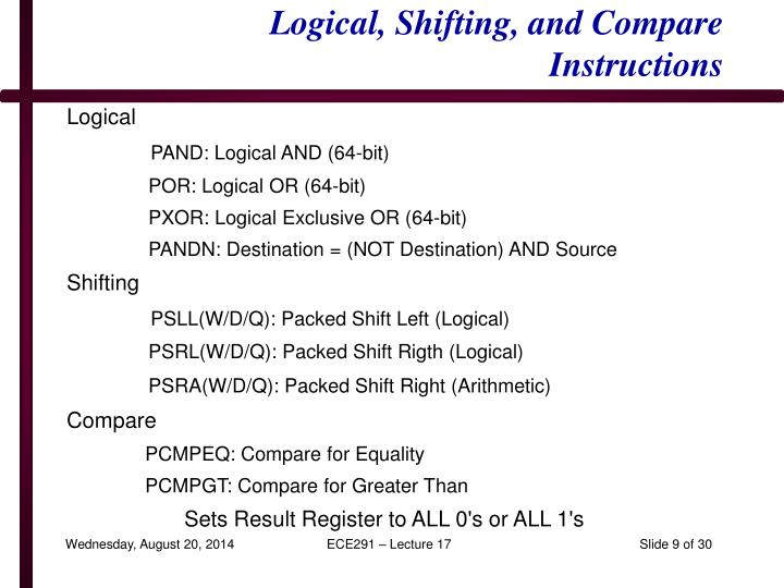 Logical, Shifting, and Compare