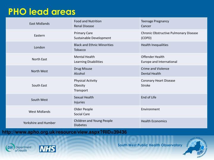 PHO lead areas
