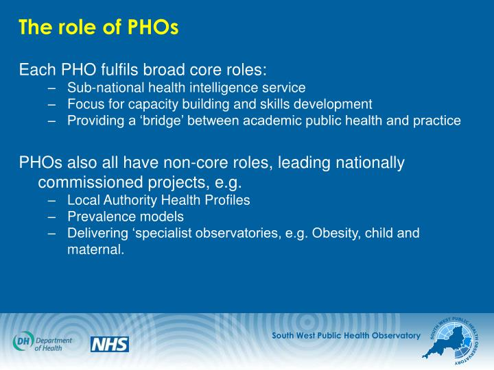 The role of PHOs