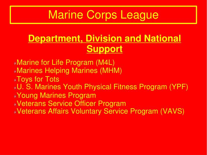 Department, Division and National Support