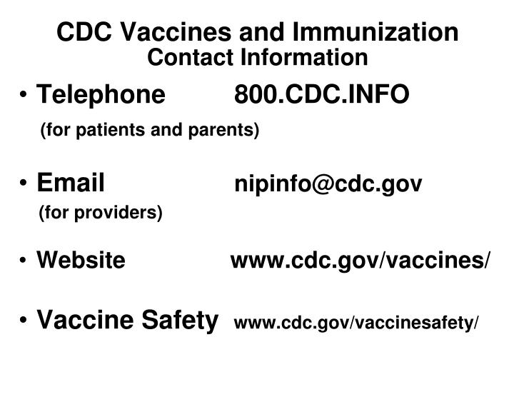 CDC Vaccines and Immunization