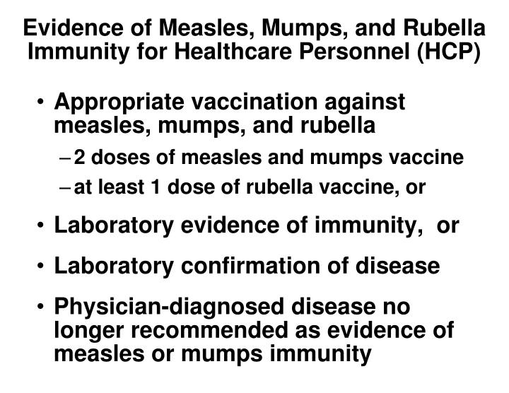 Evidence of Measles, Mumps, and Rubella Immunity for Healthcare Personnel (HCP)
