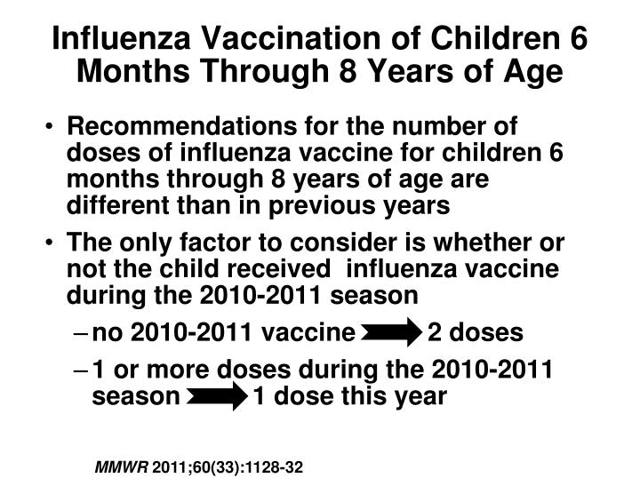 Influenza Vaccination of Children 6 Months Through 8 Years of Age