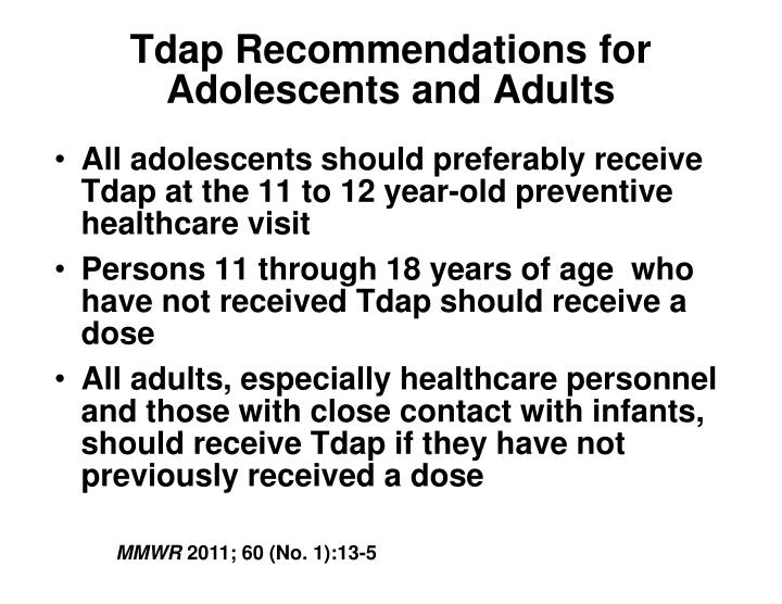 Tdap Recommendations for Adolescents and Adults