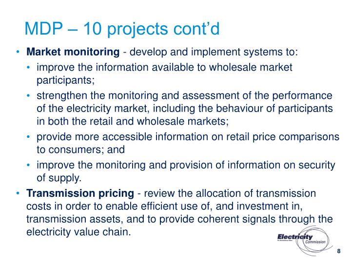MDP – 10 projects cont'd