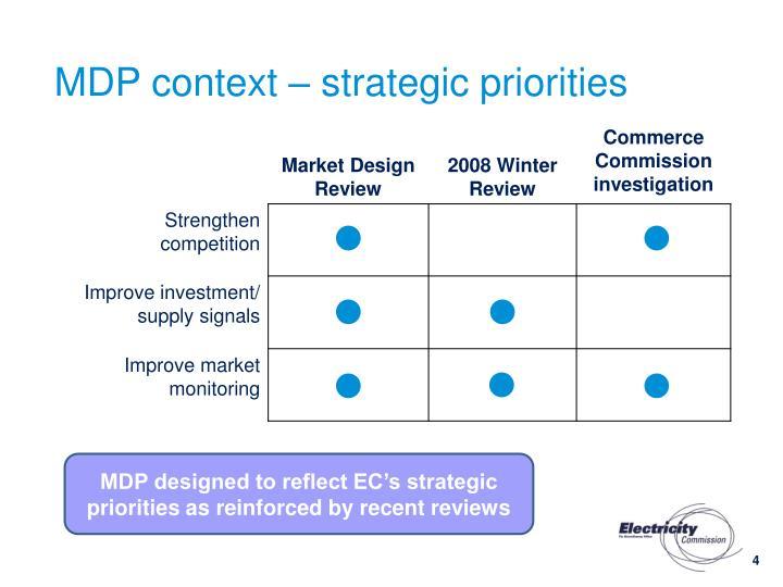 MDP context – strategic priorities