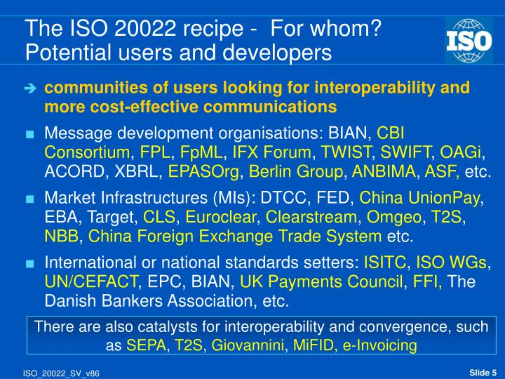 The ISO 20022 recipe -  For whom?