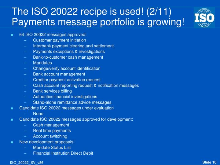 64 ISO 20022 messages approved: