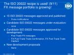 the iso 20022 recipe is used 9 11 fx message portfolio is growing