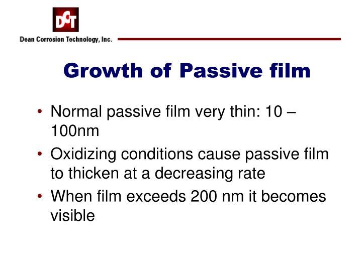Growth of Passive film
