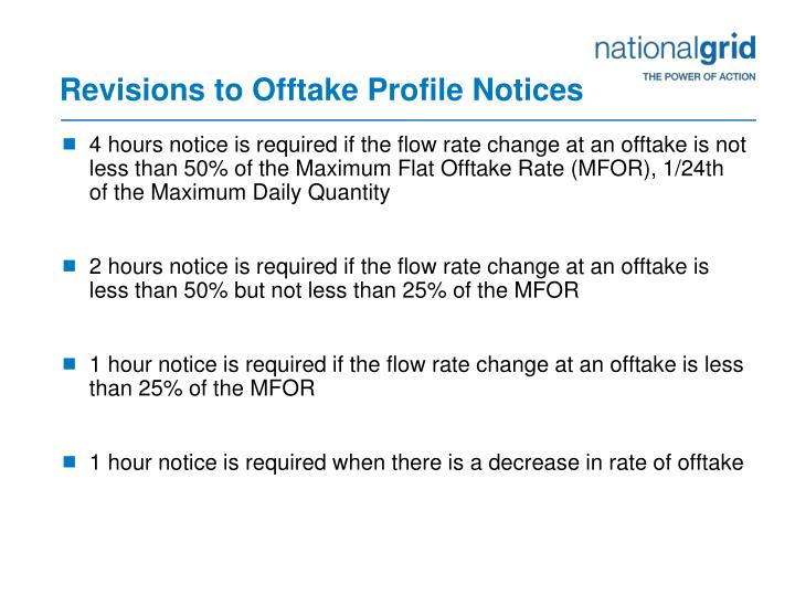Revisions to Offtake Profile Notices