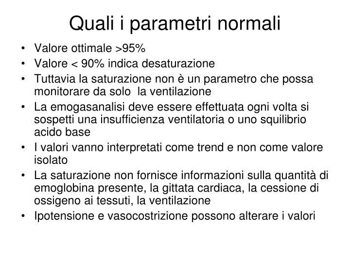 Quali i parametri normali