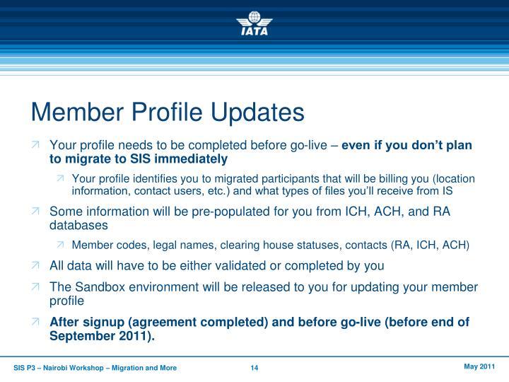 Member Profile Updates