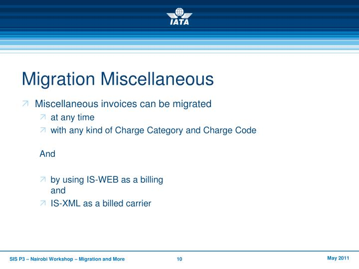 Migration Miscellaneous