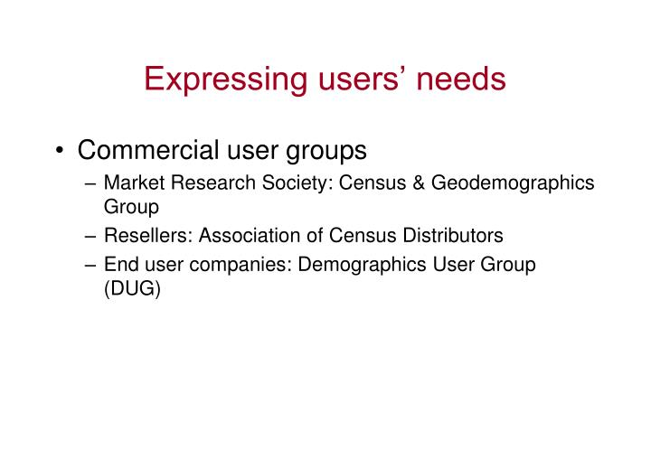 Expressing users' needs