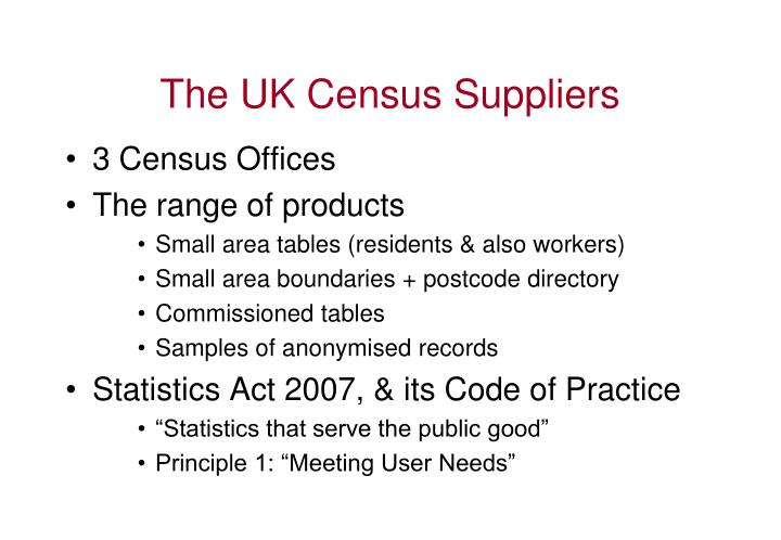 The UK Census Suppliers