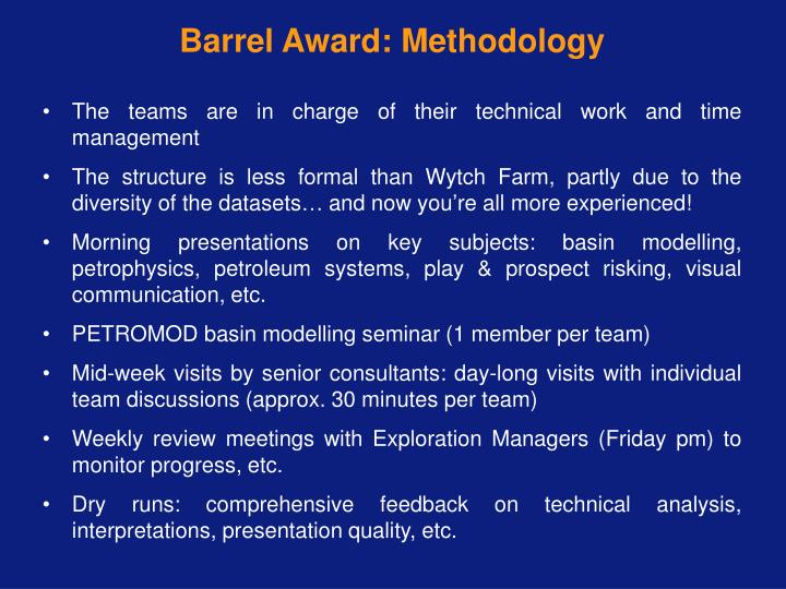 Barrel Award: Methodology