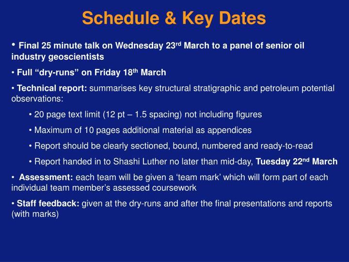 Schedule & Key Dates