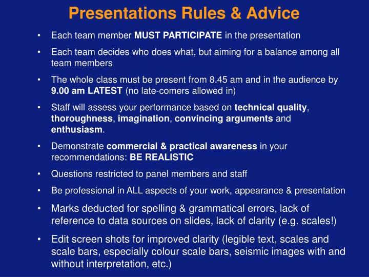 Presentations Rules & Advice