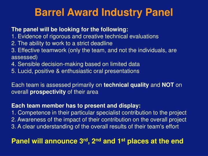 Barrel Award Industry Panel