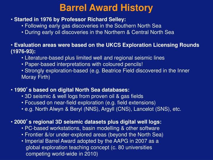 Barrel Award History