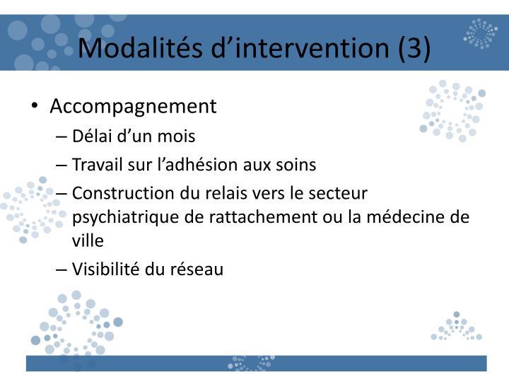 Modalités d'intervention (3)