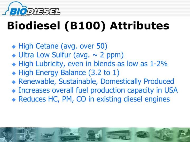 Biodiesel (B100) Attributes