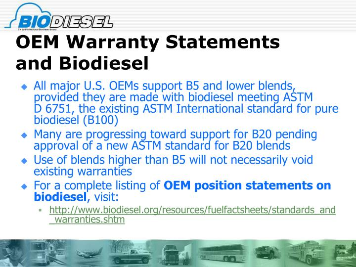 OEM Warranty Statements and Biodiesel