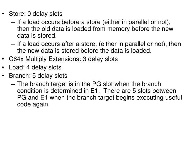 Store: 0 delay slots