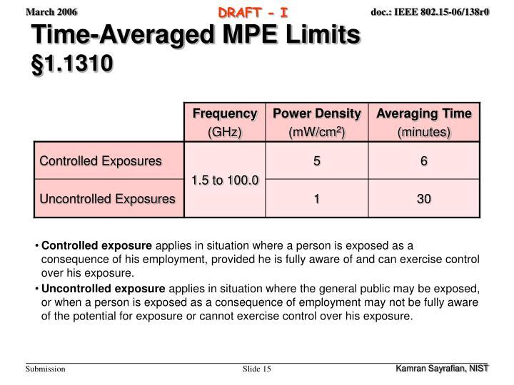 Time-Averaged MPE Limits