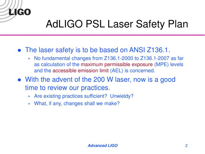 Adligo psl laser safety plan