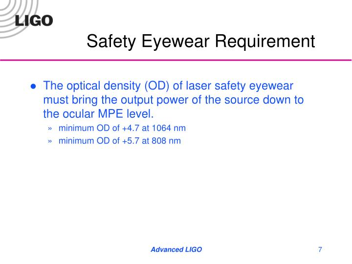 Safety Eyewear Requirement