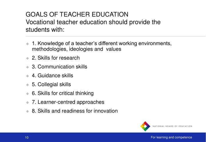 GOALS OF TEACHER EDUCATION