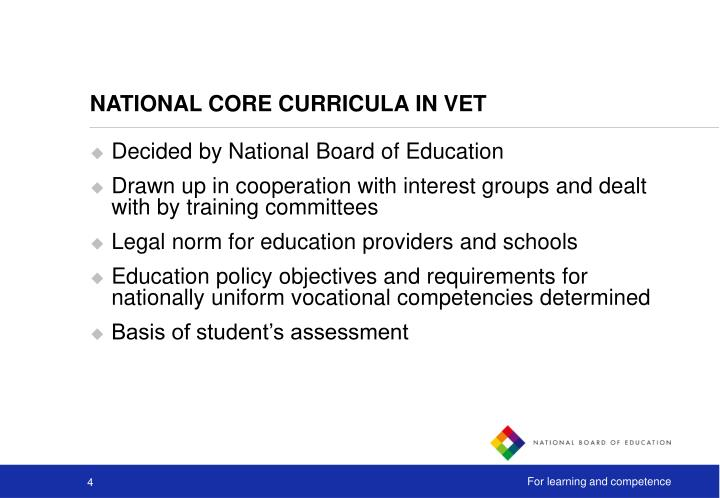 NATIONAL CORE CURRICULA IN VET