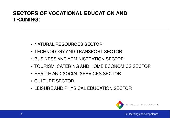 SECTORS OF VOCATIONAL EDUCATION AND TRAINING: